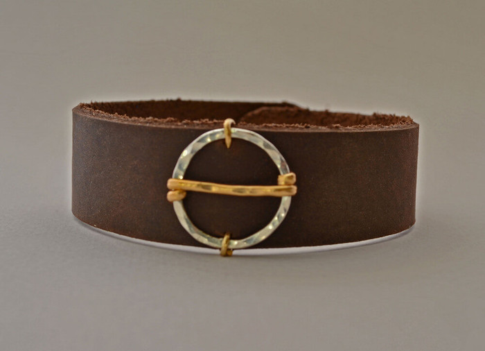 Handcrafted leather cuff bracelet with 14 kt gold filled sterling silver