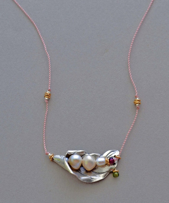 Handmade budding flower necklaces with four pearls, garnet stones and sterling silver petal
