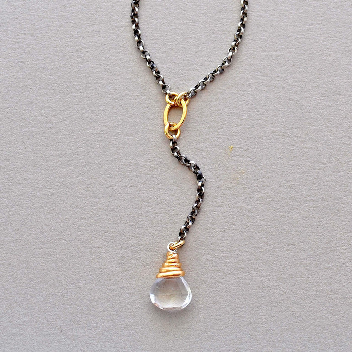 Handmade unique winding quartz necklace with crystal quartz and oxidized sterling silver wrapped in gold filled wire