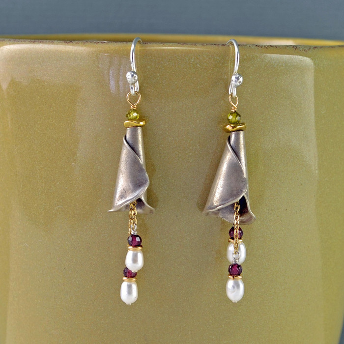 Pearls in Bloom Earrings made with garnet and brass: view 1