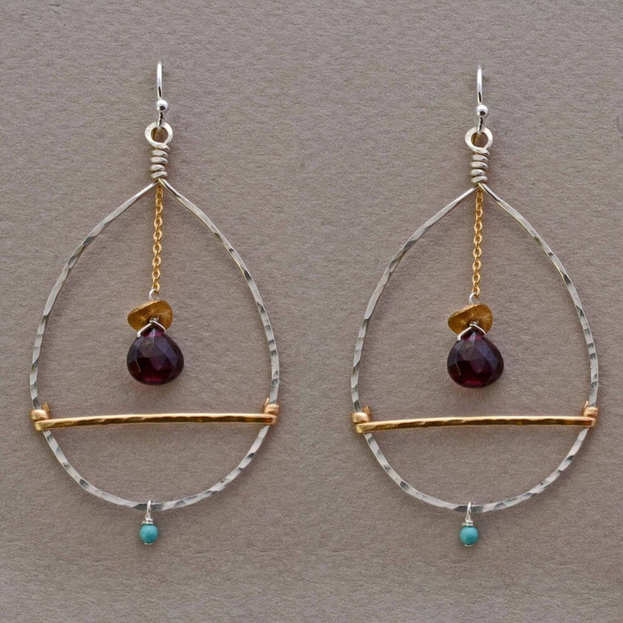 Unique handmade garnet teardrop earrings with 14kt gold filled sterling silver