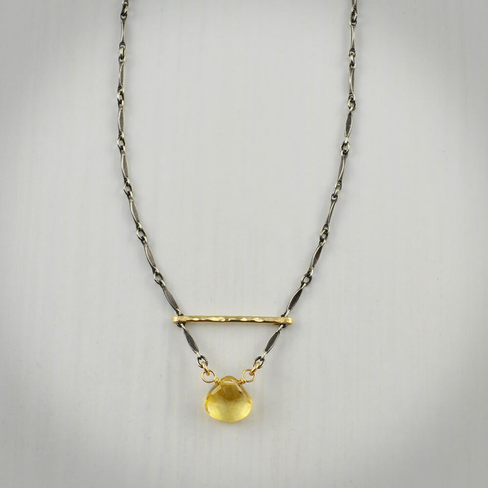 Hand forged unique citrine necklace with 14kt gold filled sterling silver:  view 1