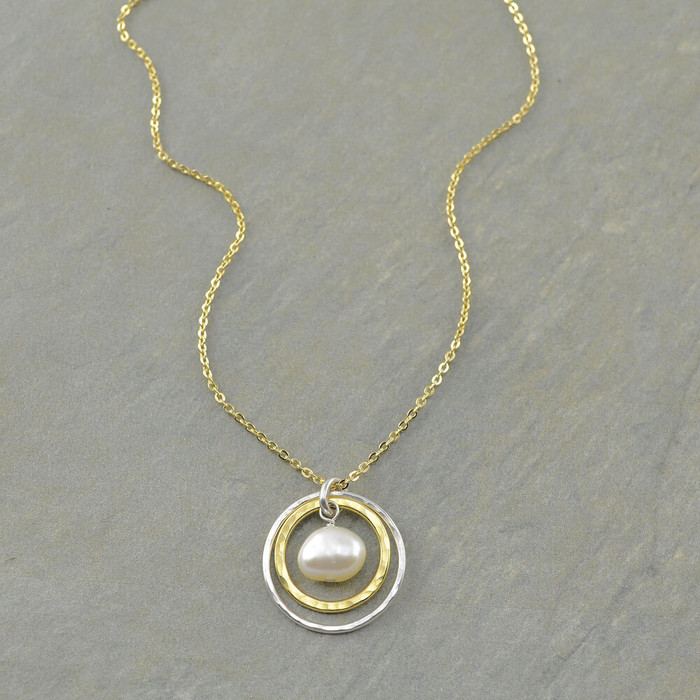 Sun and moon necklace featured with freshwater pearl and gold filled chain: view 1