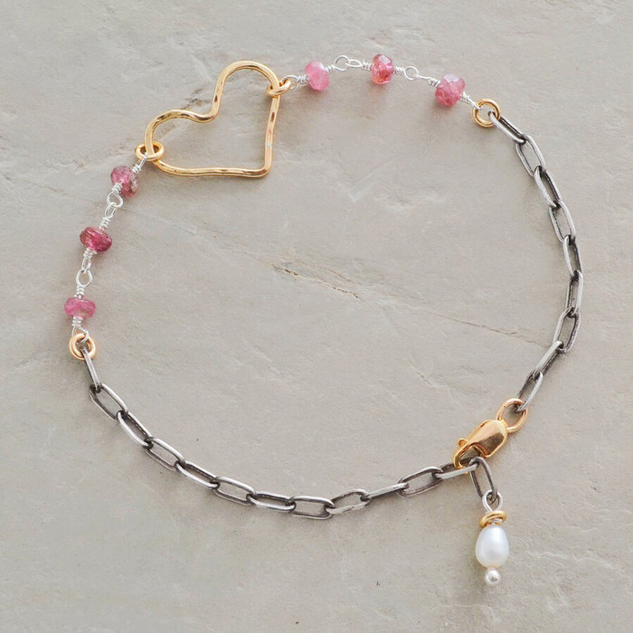 Rosy heart bracelet made with pink tourmaline, pearl, and gold filled sterling silver in heart shape