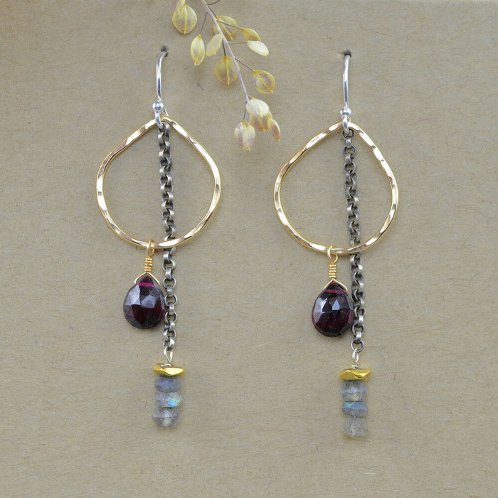 Unique handcrafted dew drop earrings with various gemstones and gold filled sterling silver: view 1