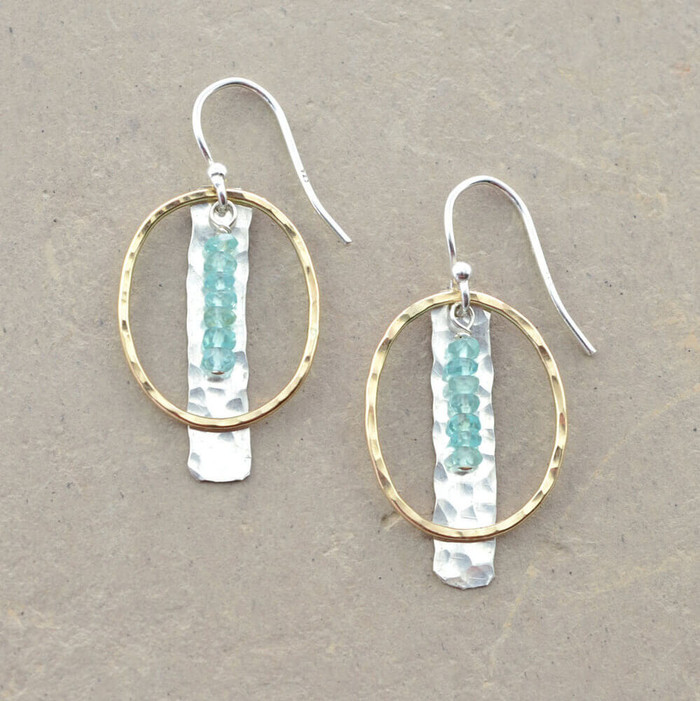 Handmade artistic earrings embellished with aquamarine gemstones and gold loop: view 1