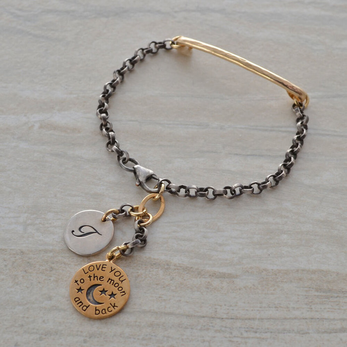 handmade personalized bracelets with oxidized sterling silver chain, including your own letter