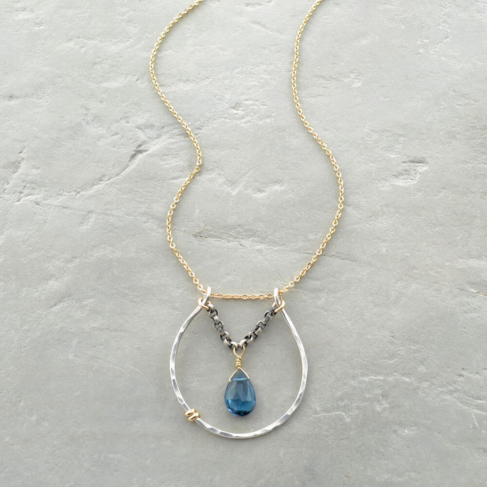 handmade blue topaz necklace: view 1