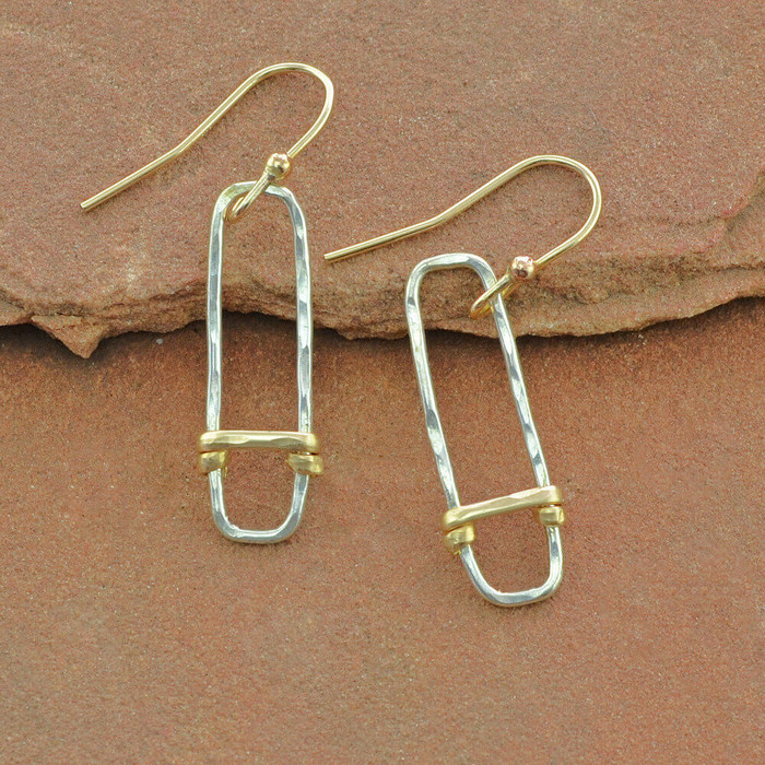 Handcrafted earrings with sterling silver forged to rectangle shape: view 1
