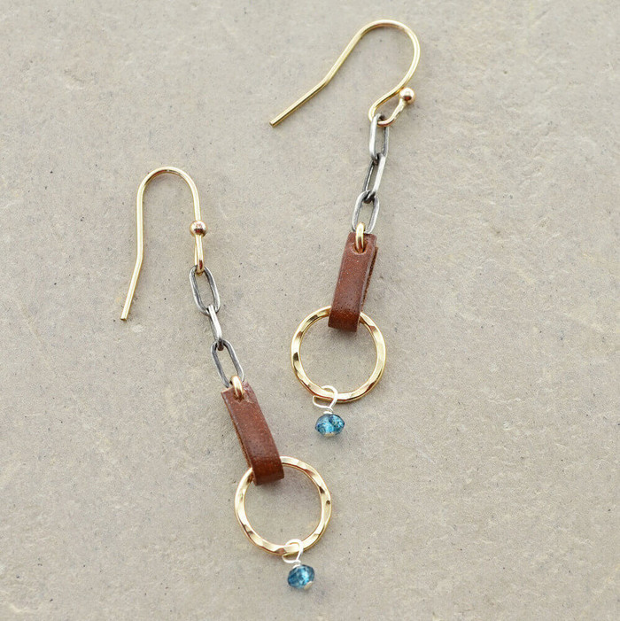 handmade blue topaz gold earrings: view 1