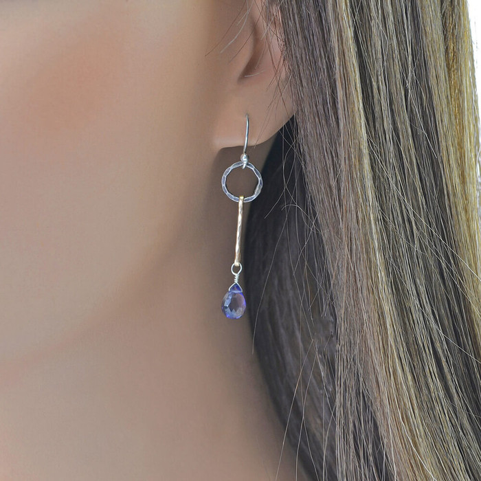 handmade faceted iolite earrings: view 2
