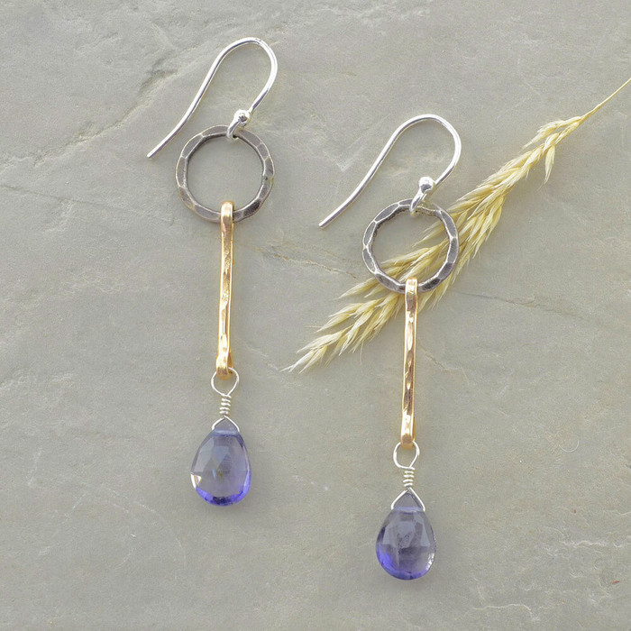 handmade faceted iolite earrings: view 1
