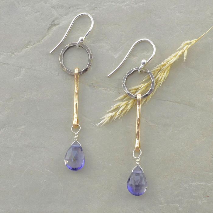 handmade faceted iolite earrings: view 1
