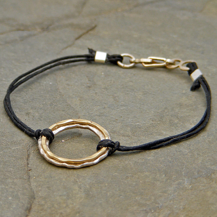 Hand made linen bracelet with hammered 14kt gold filled sterling silver circles