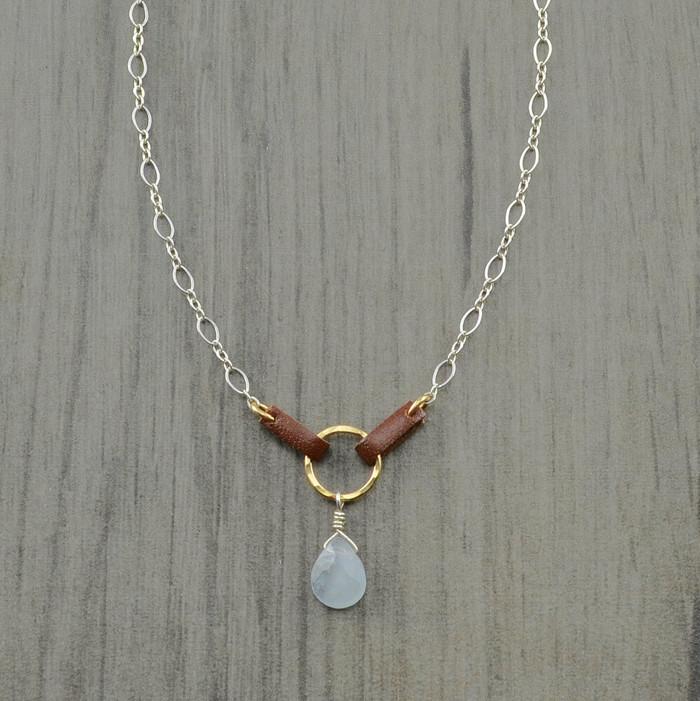 Handmade unique saddled chalcedony pendant necklace: view 1