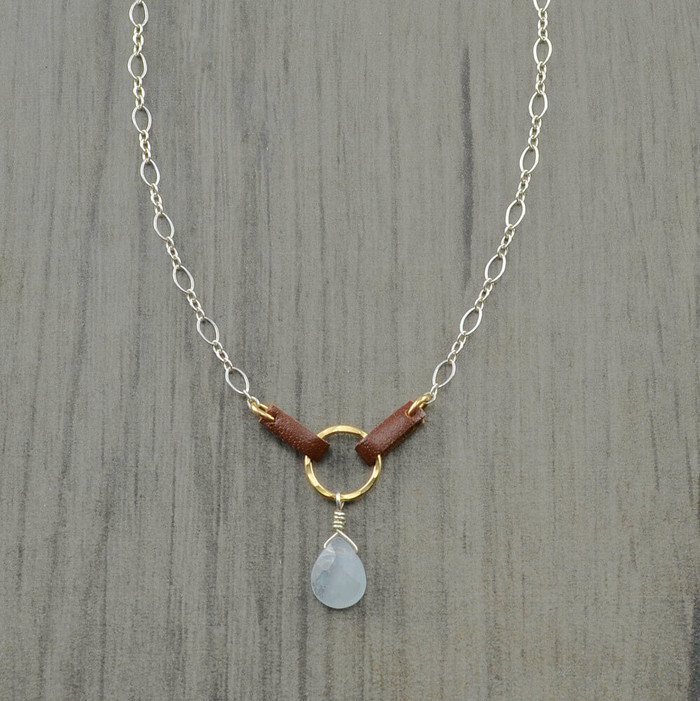 Handmade unique saddled chalcedony pendant necklace: view 1