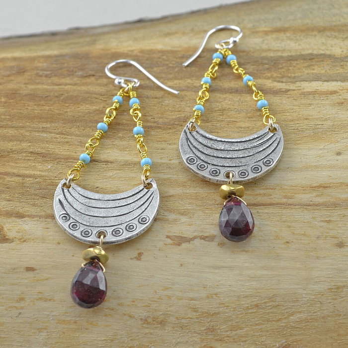 handmade unique crescent moon earrings: view 1
