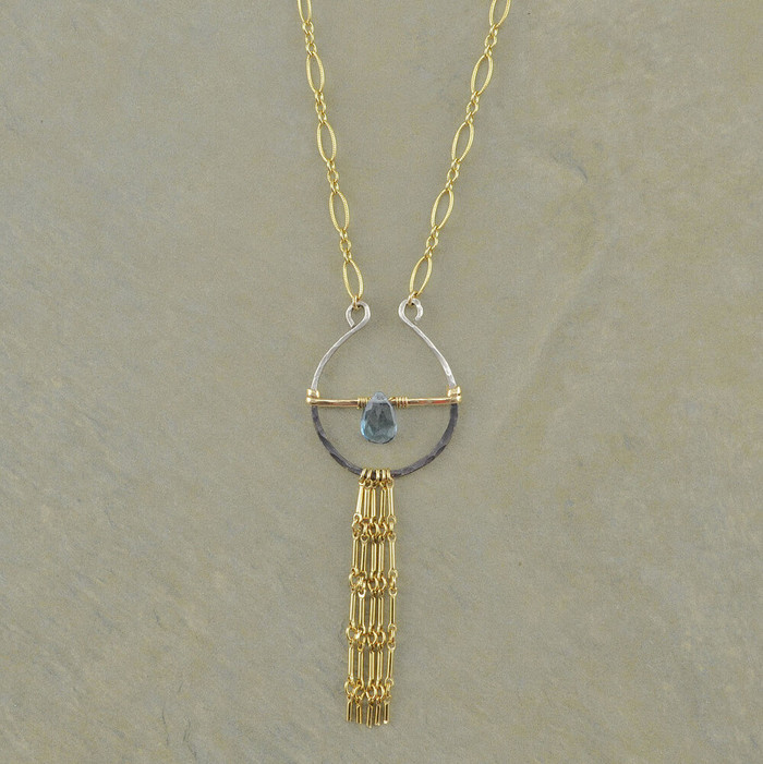 Tassels & Blue Topaz Necklace: view 1