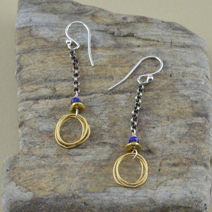 Handmade loop and lapis earrings: view 1