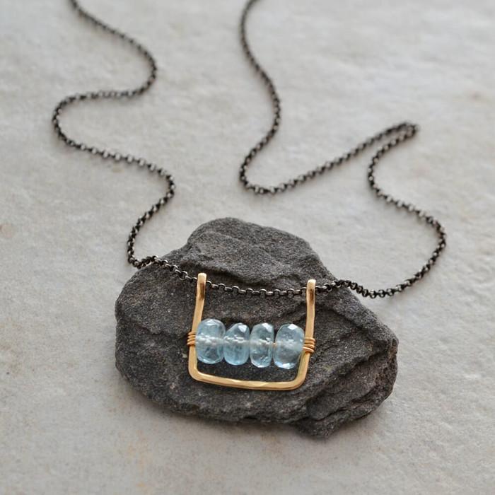 handmade unique aquamarine stone necklace: view 1