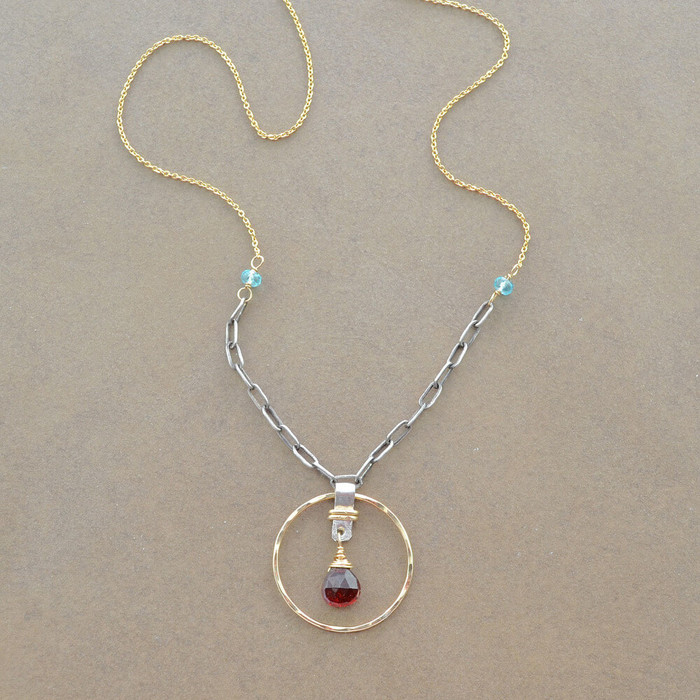 Handmade garnet teardrop necklace with 14kt gold filled sterling silver: view 1