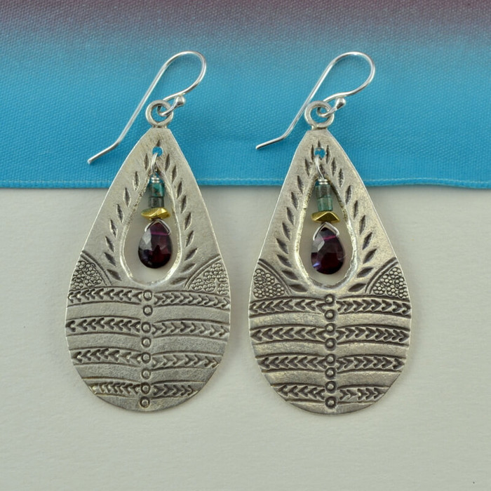 handmade stamped teardrop garnet stone earrings