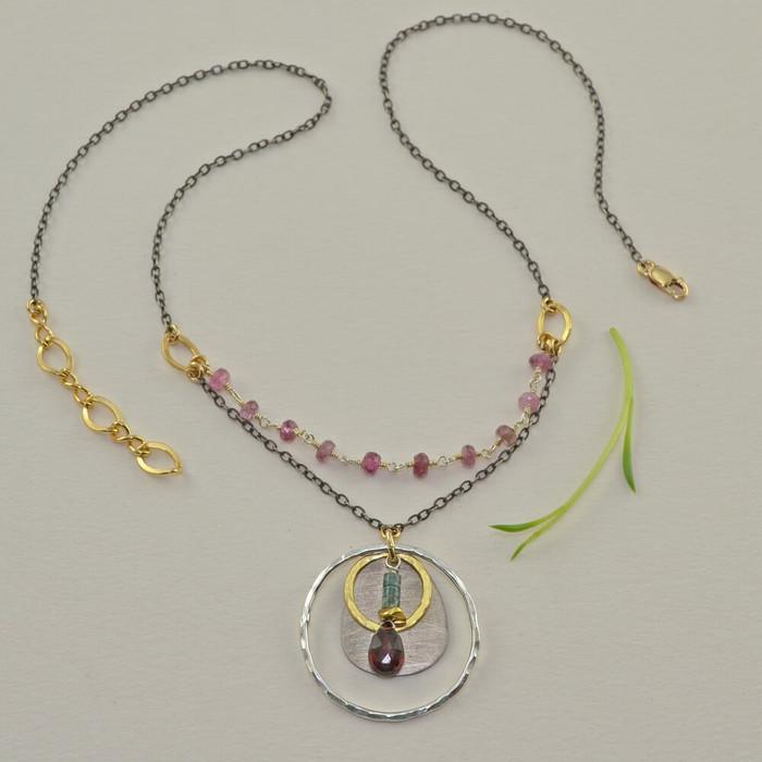 lightweight handmade tourmaline necklace: view 1
