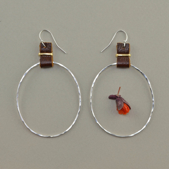 sterling silver hoop wrapped in leather earrings