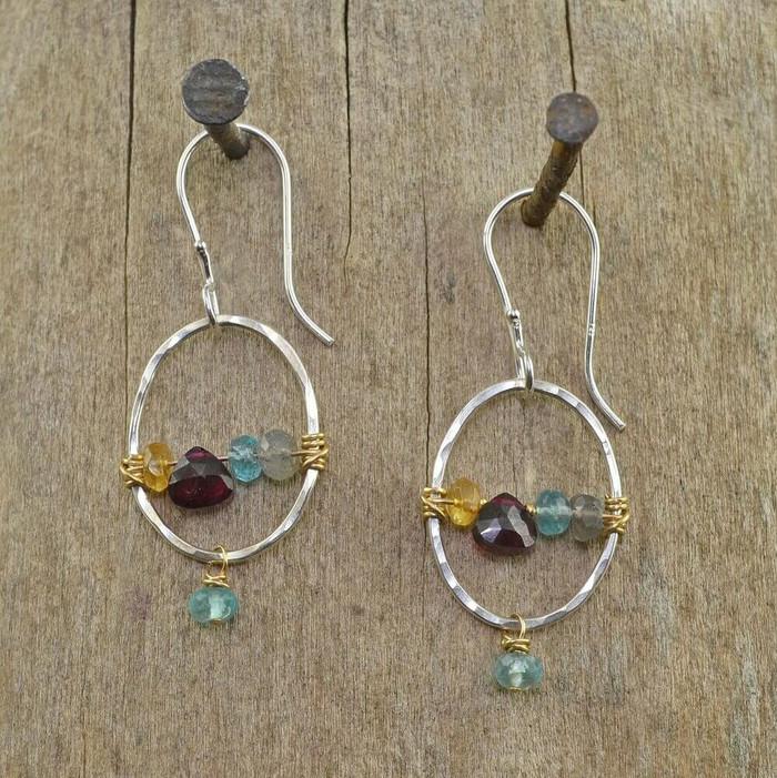 handmade rainbow hoop earrings made with multiple gemstones