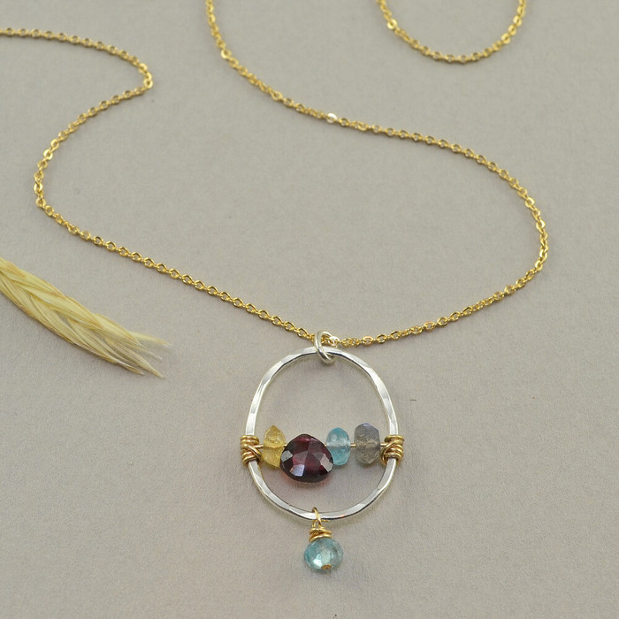 Handmade rainbow necklace made with multiple gemstone and 14kt gold filled chain: view 1