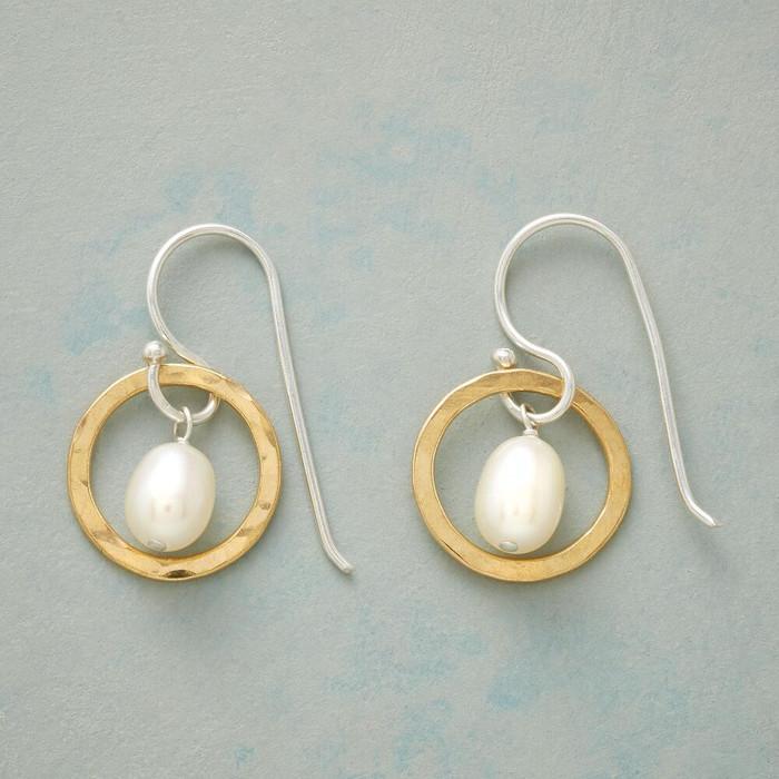 Through Hoops Pearl Earrings