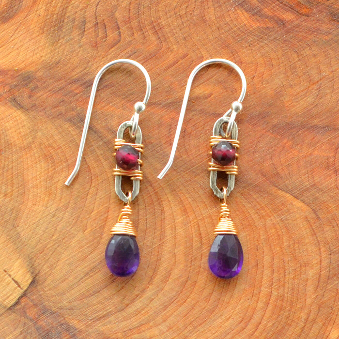 Teardrop Iolite and Framed Garnet Earrings