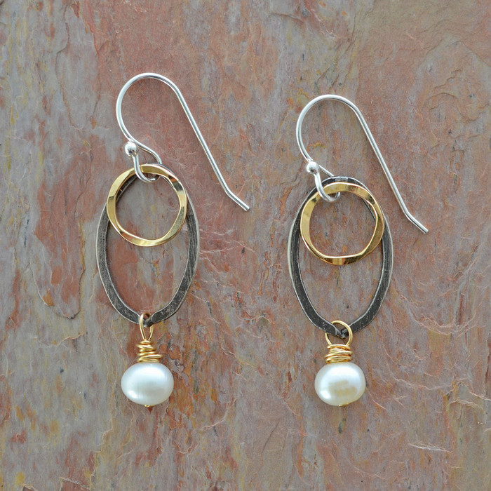 Delicate silver earrings with freshwater pearls: view 1