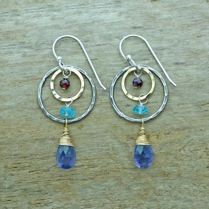 unique handmade iolite earrings with garnet and apatite gemstones