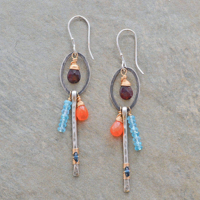 Handmade sterling silver earrings with vibrant stones: view 1