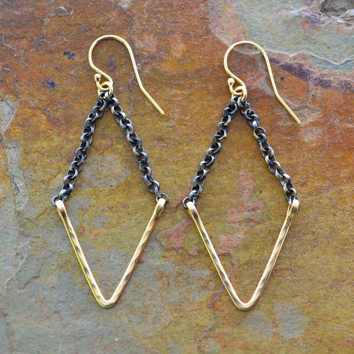 handmade gold geometric earrings: view 1