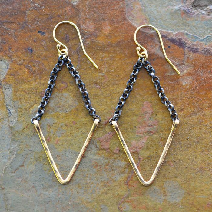 handmade gold geometric earrings: view 1