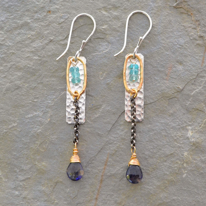Handmade silver earrings with iolite stones: view 1