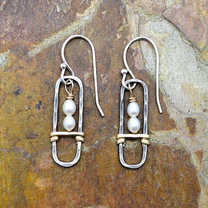 Sterling Framed Pearl Earrings