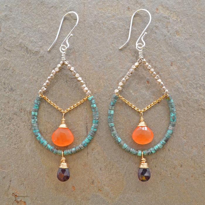 unique handmade silver chandelier earrings: view 1