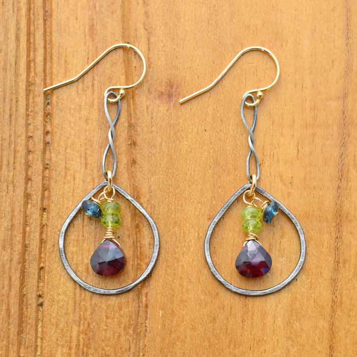 handmade sterling silver teardrop earrings with three different types of gemstones: view 1