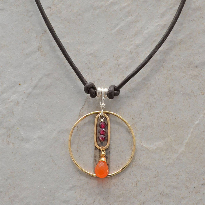 Carnelian stone necklace with leather cord, garnet stones: view 1