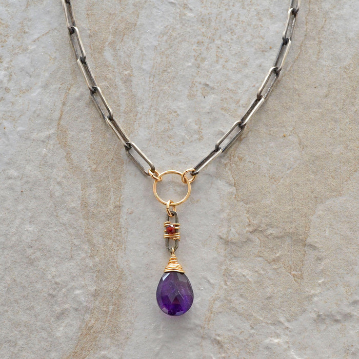 Amethyst gemstone pendant handmade necklace: view 1