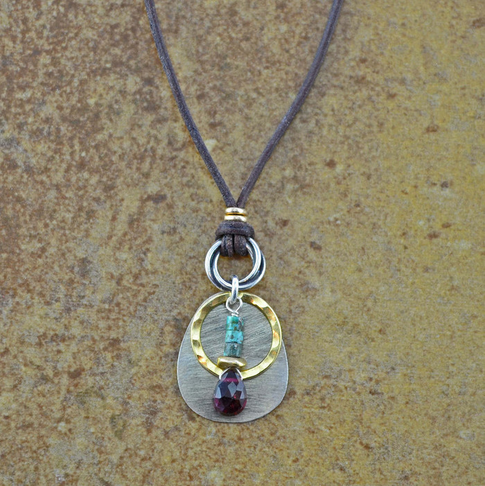 unique handmade turquoise and leather necklaces with teardrop garnet stone and sterling silver: view 1
