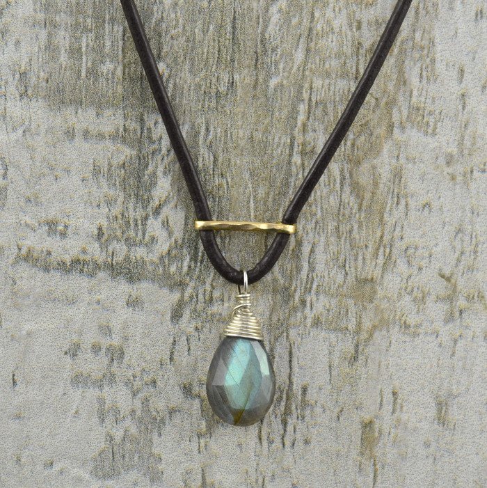 Handmade leather and silver necklaces with teardrop shaped labradorite gemstone: view 1
