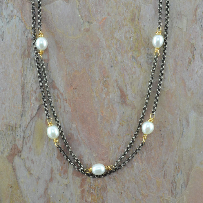 handmade sterling silver necklace with freshwater pearls: view 1