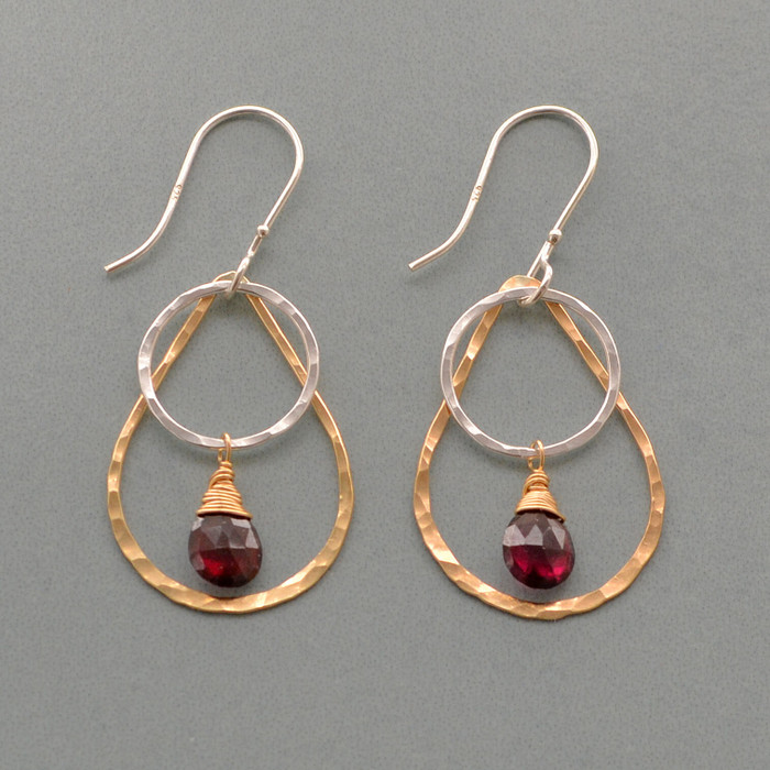 Teardrop Garnet Hoop Earrings