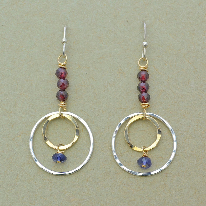 Elegant Layered Circle and Garnet Earrings