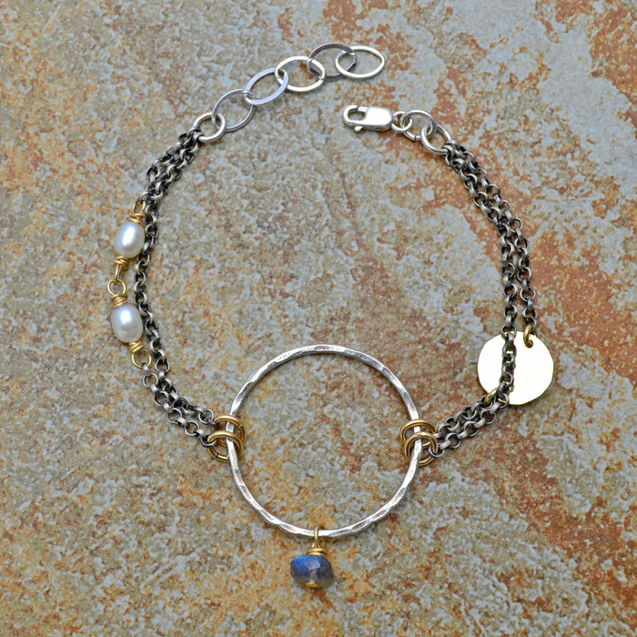 Labradorite and Pearl Multiple Chain Bracelet