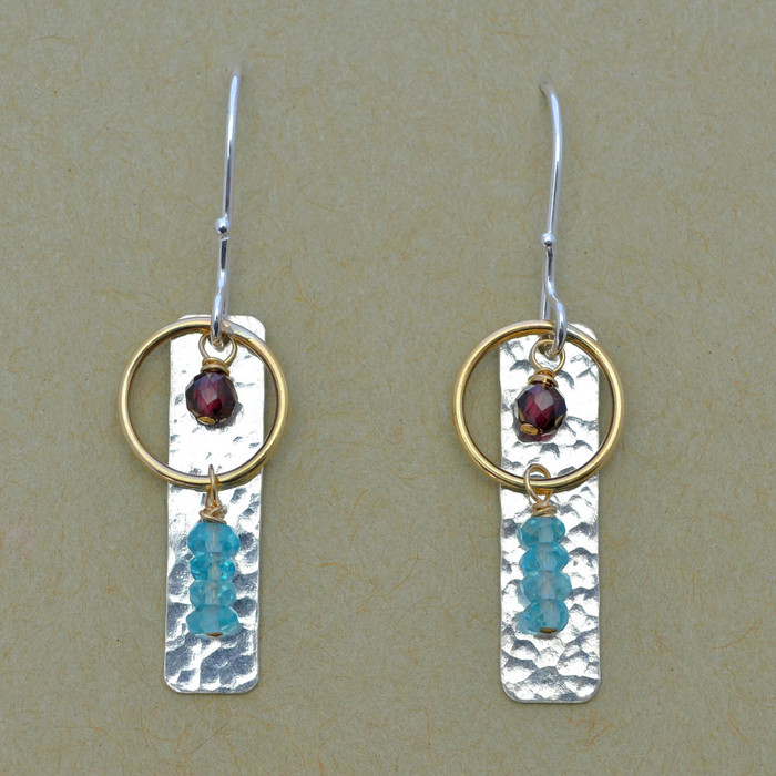 Dangling Apatite and Garnet Earrings